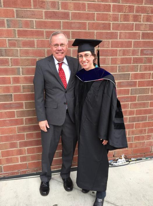 Kim Scott with her father at MIT's hooding ceremony.