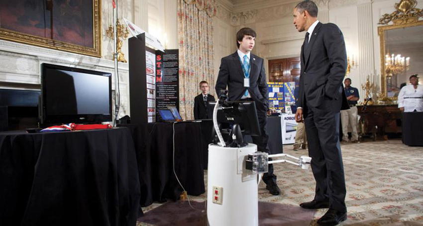 Ben Hylak showed his robot MAYA to President Obama at the 2011 White House Science Fair.