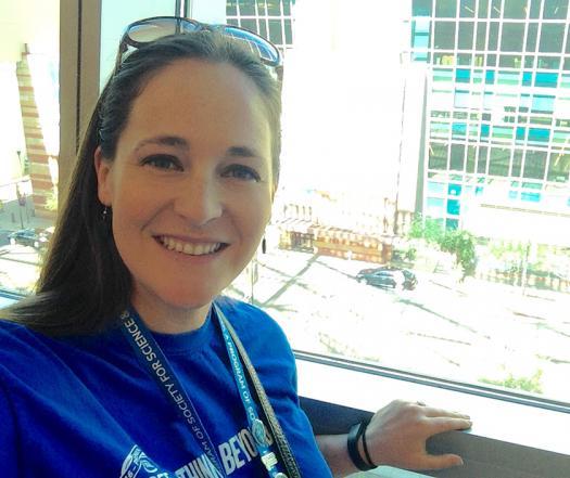 Jessica Ullyott volunteering at the 2016 Intel ISEF in Phoenix, Arizona.