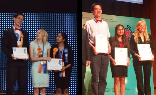 Joshua (left), Sophia Korner, and Diya Mathur were three of the Intel ISEF 2015 finalists who won a trip to China.