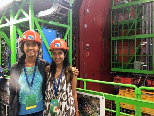 Nitya Mani and Krithika Iyer (right) at the CERN facility in Switzerland.