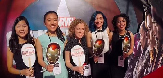 Janie (on the left) stands with the other challenge finalists at the movie premiere.