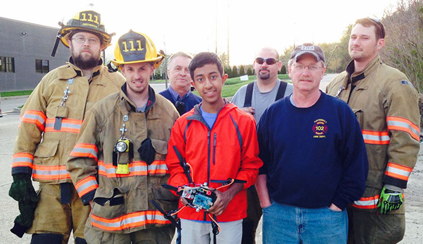 Mihir tested his drone with local firemen to see how it worked in a real-world scenario.