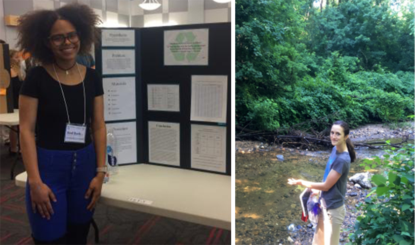 Monea (left) researches climate change. Claire (right) studies ways to decrease bacteria in stormwater filtration systems.