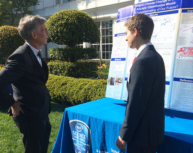 "Nathan described his project to Bill Nye ""the Science Guy"" at the 2016 White House Science Fair. PHOTO COURTESY OF SOCIETY FOR SCIENCE & THE PUBLIC."
