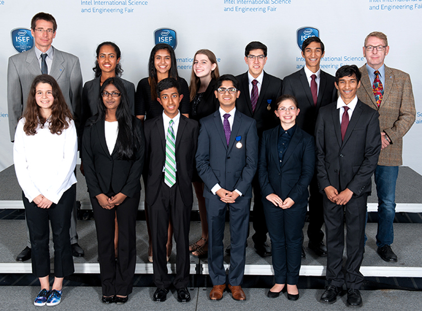 Krithika (third from the left, top row) and Mihir (third from the left, bottom row) were Intel ISEF 2015 CERN award trip winners.