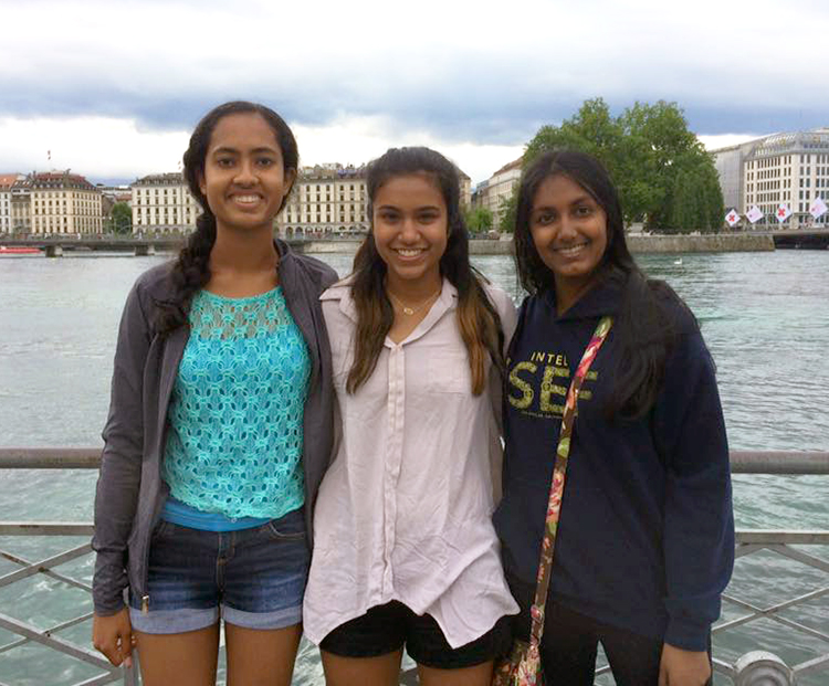 Nitya (left), Krithika Iyer, and Kavita Selva in downtown Geneva.