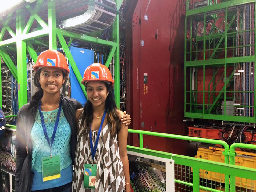 Nitya Mani (left) and Krithika Iyer at the CERN facility in Switzerland.