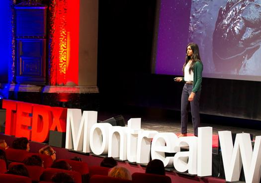 In July, Nivatha spoke at TEDxMontrealWomen about her discovery of a new species of bacteria and overcoming discrimination in STEM. Photo by TEDxMontrealWomen2015.