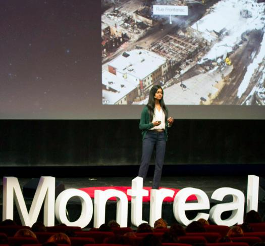 Nivatha speaking at TEDxMontreal Women in July. Photo by TEDxMontrealWomen2015.