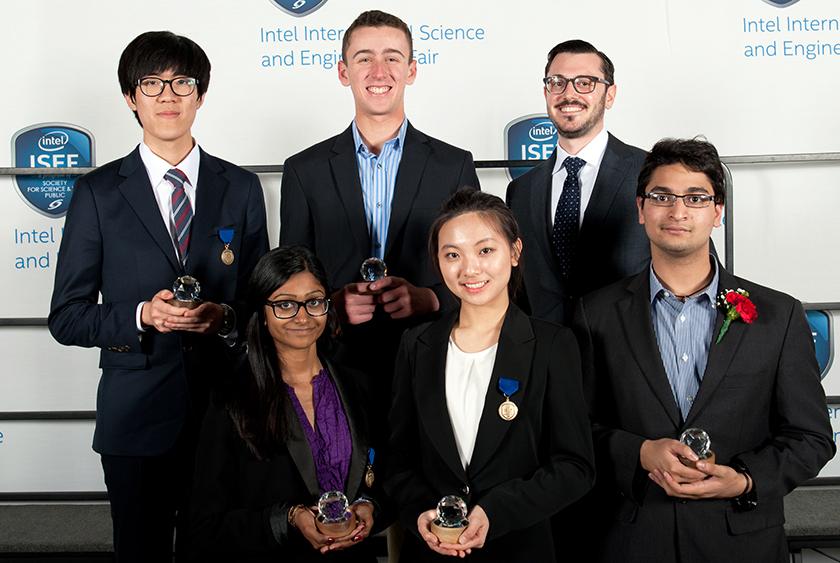 Nivatha Balendra (lower left) won the Intel ISEF 2014 SAO World Economic Forum award.
