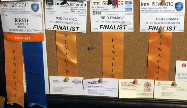 Reid's Intel ISEF ribbons.