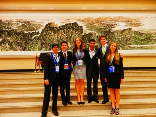 Sally Albright (third from the left) stands with other Intel ISEF finalists at the CASTIC Conference in Beijing, China.