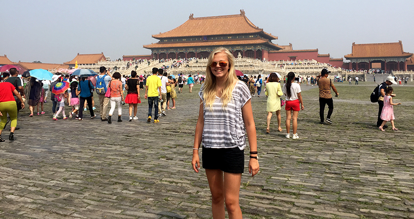 Sophia visited several cities and science institutions in China this summer.
