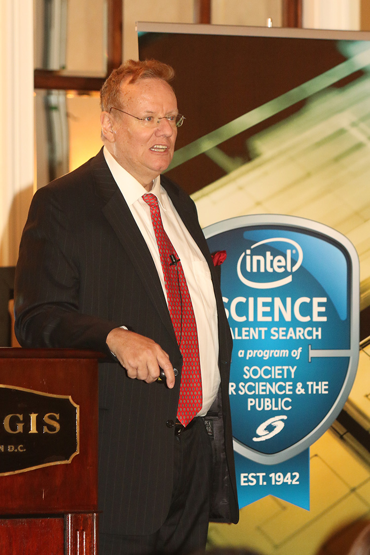 Steven Eastaugh offered advice to STS finalists as the competition began.PHOTO COURTESY OF LINDA DOANE FOR SOCIETY FOR SCIENCE & THE PUBLIC.