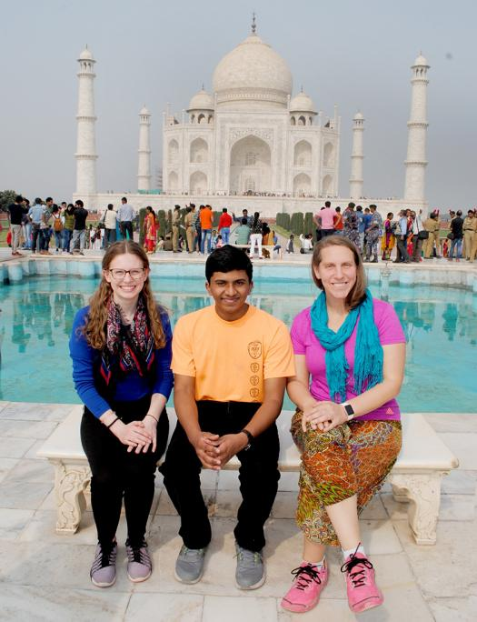 Clara, Rahul, and Lisa Icenroad, the Intel ISEF Program Manager, at the Taj Mahal.