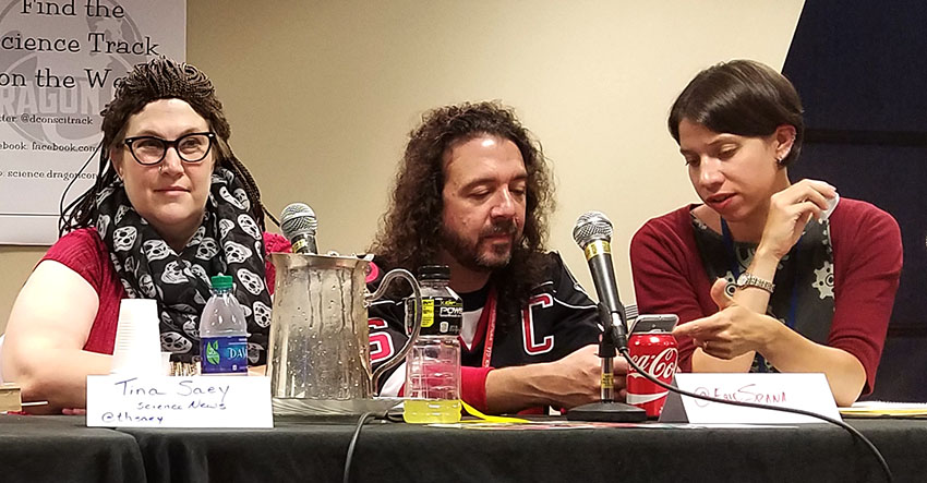 Tina Hesman Saey, dressed as Cosmina from Orphan Black, and Bethany Brookshire spoke on several panels at DragonCon.