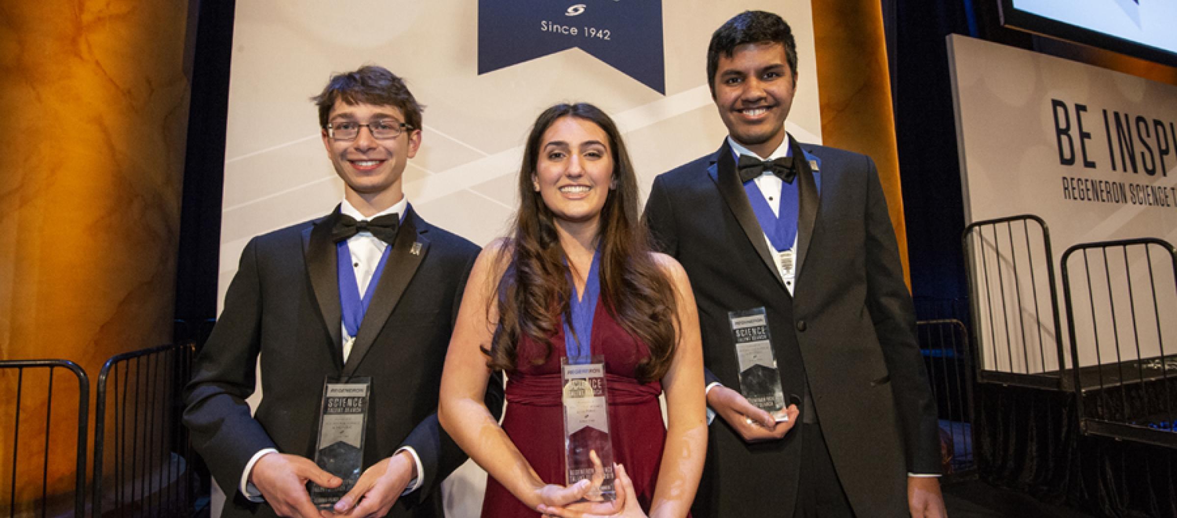 The 2019 Regeneron STS top winners (L-R) Sam Weissman, Ana Humphrey and Adam Ardeishar