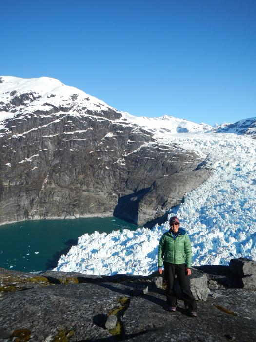 Dr. Twila Moon during field work to study how the glacier and ocean interact at the LeConte Glacier, Alaska, on a National Science Foundation project.