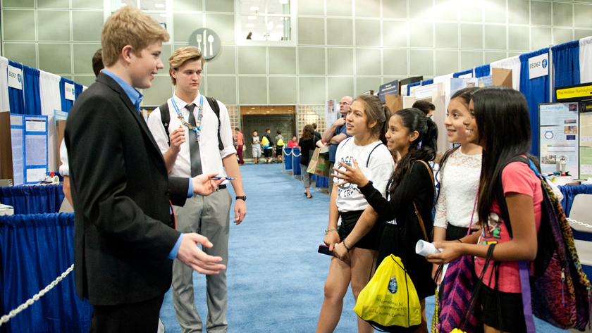 ISEF Finalist with students at Public Day