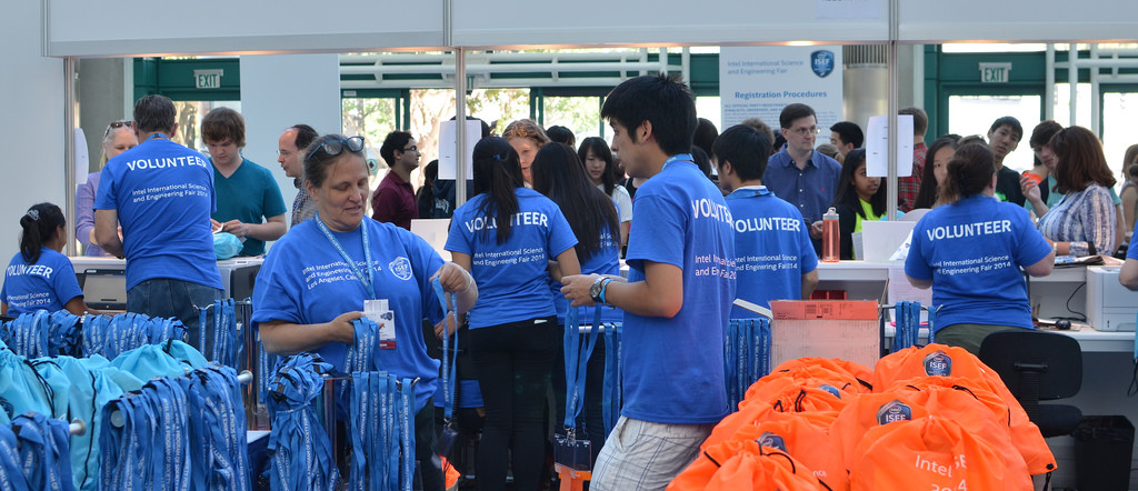 Volunteers at Intel ISEF Registration