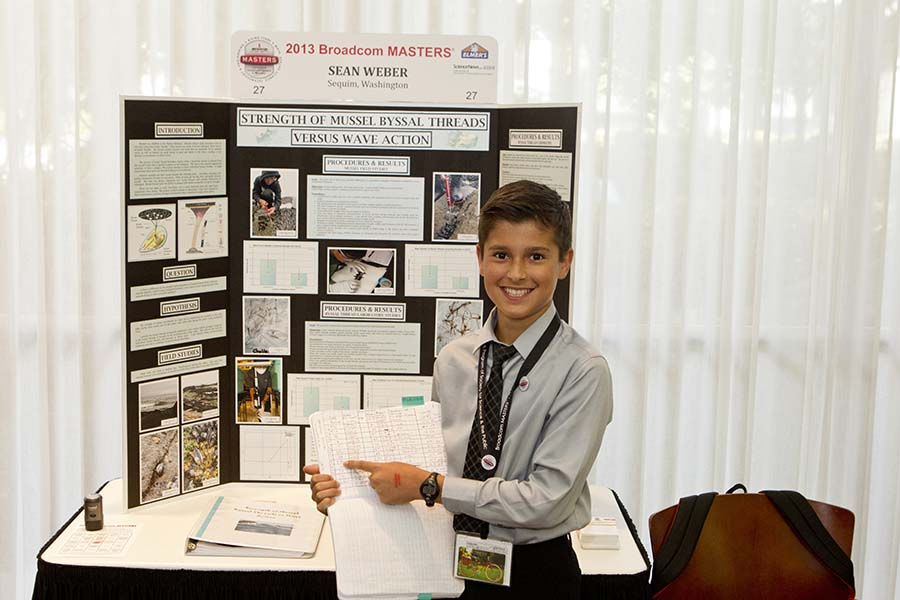 Sean Weber at his Broadcom Masters 2013 project board