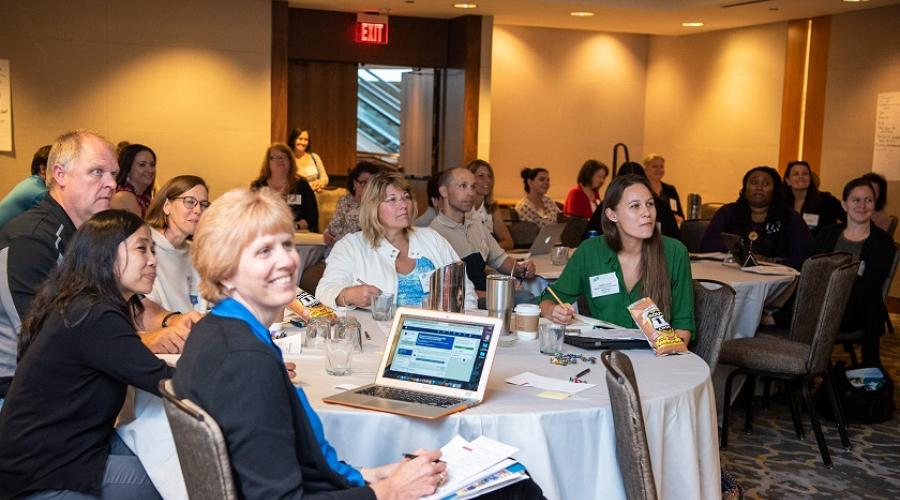 Educators attend a session at the 2018 Research Teachers Conference.