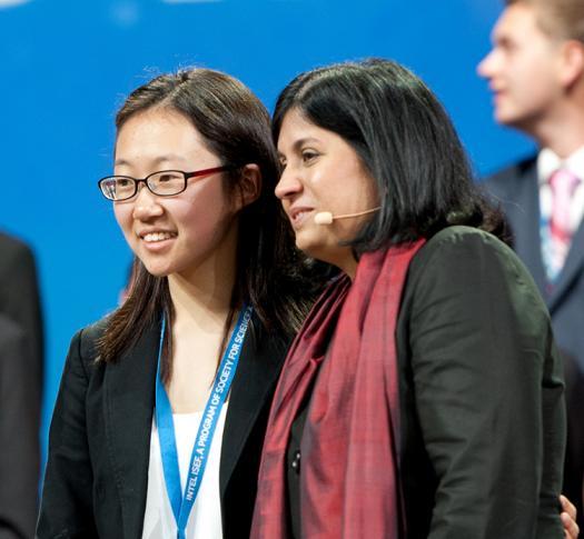 Jiwoo Lee on stage at the 2016 Intel ISEF.