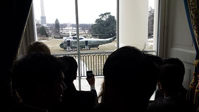 President Barack Obama and Michelle Obama left the meet-and-greet in a helicopter.