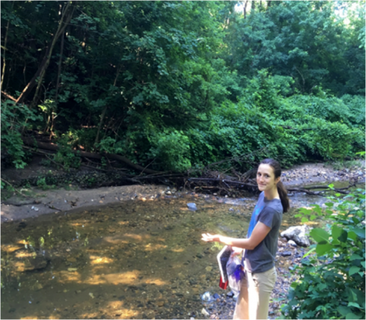 Claire studies ways to decrease bacteria in stormwater filtration systems.
