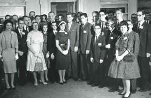 President Kennedy and Vice President Johnson with the 1961 Science Talent Search finalists in the White House.