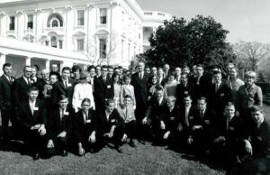 President Johnson with the 1965 Science Talent Search finalists at the White House.