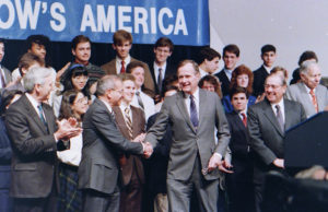 President GHW Bush speaks at the 1989 Science Talent Search finalists at the awards ceremony.