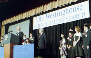 President George HW Bush with the 1991 Science Talent Search.