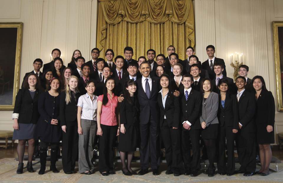 President Obama with the 2011 Science Talent Search finalists at the White House.