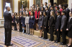 President Barack Obama greets and talks with the 2013 Intel Science Talent Search finalists