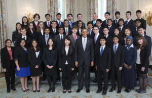 President Barack Obama with the 2014 Intel Science Talent Search finalists.