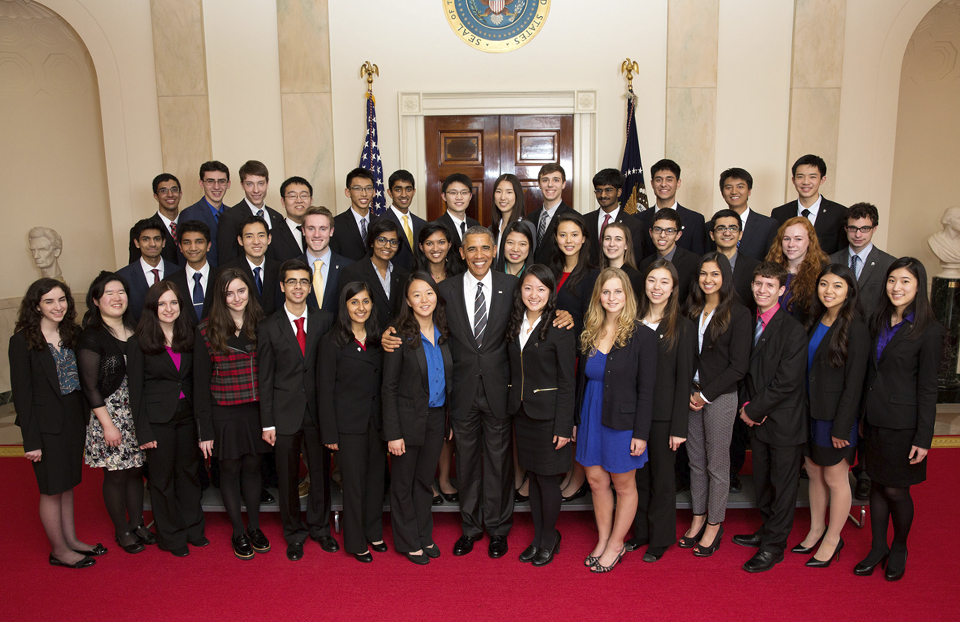President Obama with the 2015 Science Talent Search finalists at the White House.