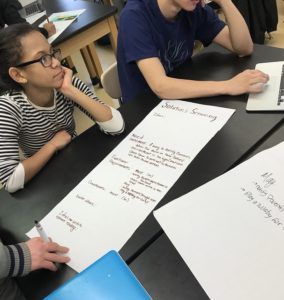 Vince's students brainstorm ideas and record how they want their devices to function.