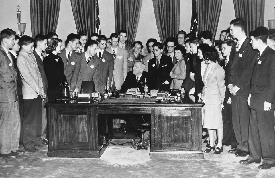 1949 Science Talent Search finalists with President Truman at the White House