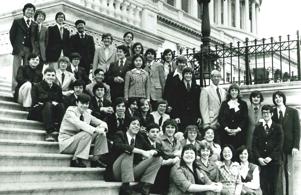 1977 Science Talent Search finalists at the Capitol. STS. Westinghouse.