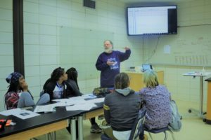 Professor Craig Hood taught students how to maintain their bat detectors, download files from them and analyze captured sonograms.