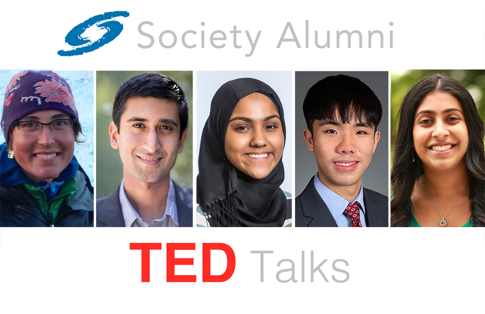 Society alumni from left to right: Twila Moon, Sheel Tyle, Kashfia Rahman, Brian Wu and Deepika Kurup.