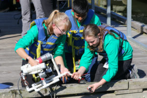 Alexis and her team deploy their remotely operated vehicle at the Smithsonian Environmental Research Center