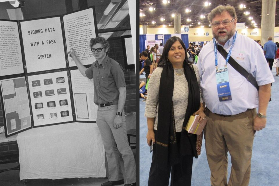 Left: Dennis pictured with his science poster in the early 1970's. Right: Dennis poses with Maya Ajmera, President & CEO of the Society at ISEF 2019 in Phoenix.