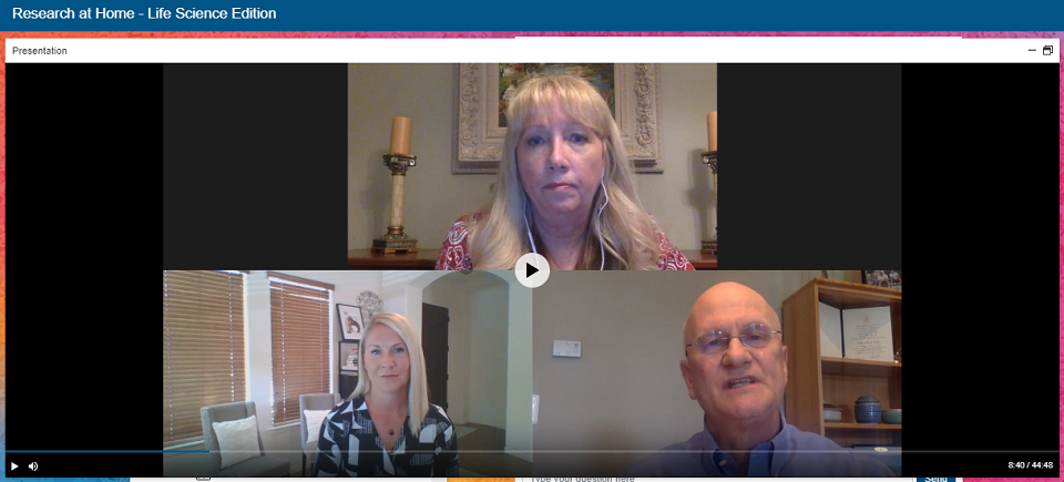 Bill Wallace and Tina Gibson spoke about how to conduct life sciences research at home.