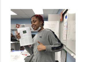 Kehkashan Khan adapted her in-class lessons for the virtual classroom by posting Science News articles and corresponding worksheets online.
