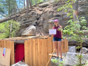Lillian PetersenLillian Petersen finds a geocache in Los Alamos, New Mexico