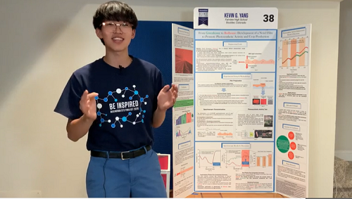 """Kevin Yang and his project, """"From Greenhouse to Redhouse: Development of an Advanced Film to Promote Photosynthetic Activity and Crop Production."""""""