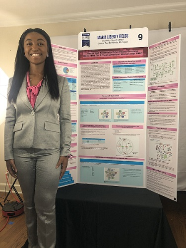 """Maria Fields and her project, """"Genes that Potentially Drive Health Outcome Disparities for African-American Women with TNBC."""""""